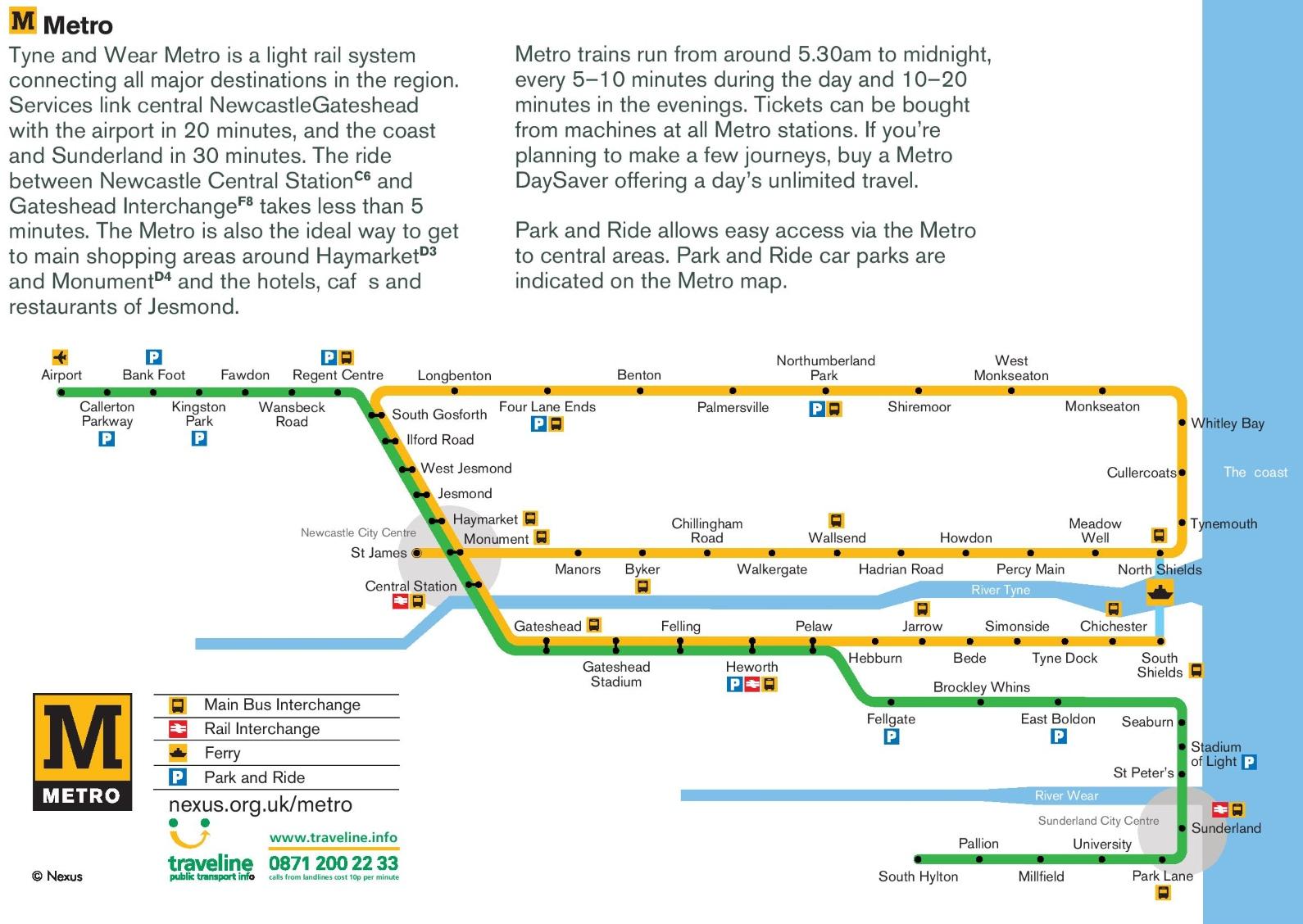 Newcastle metro map