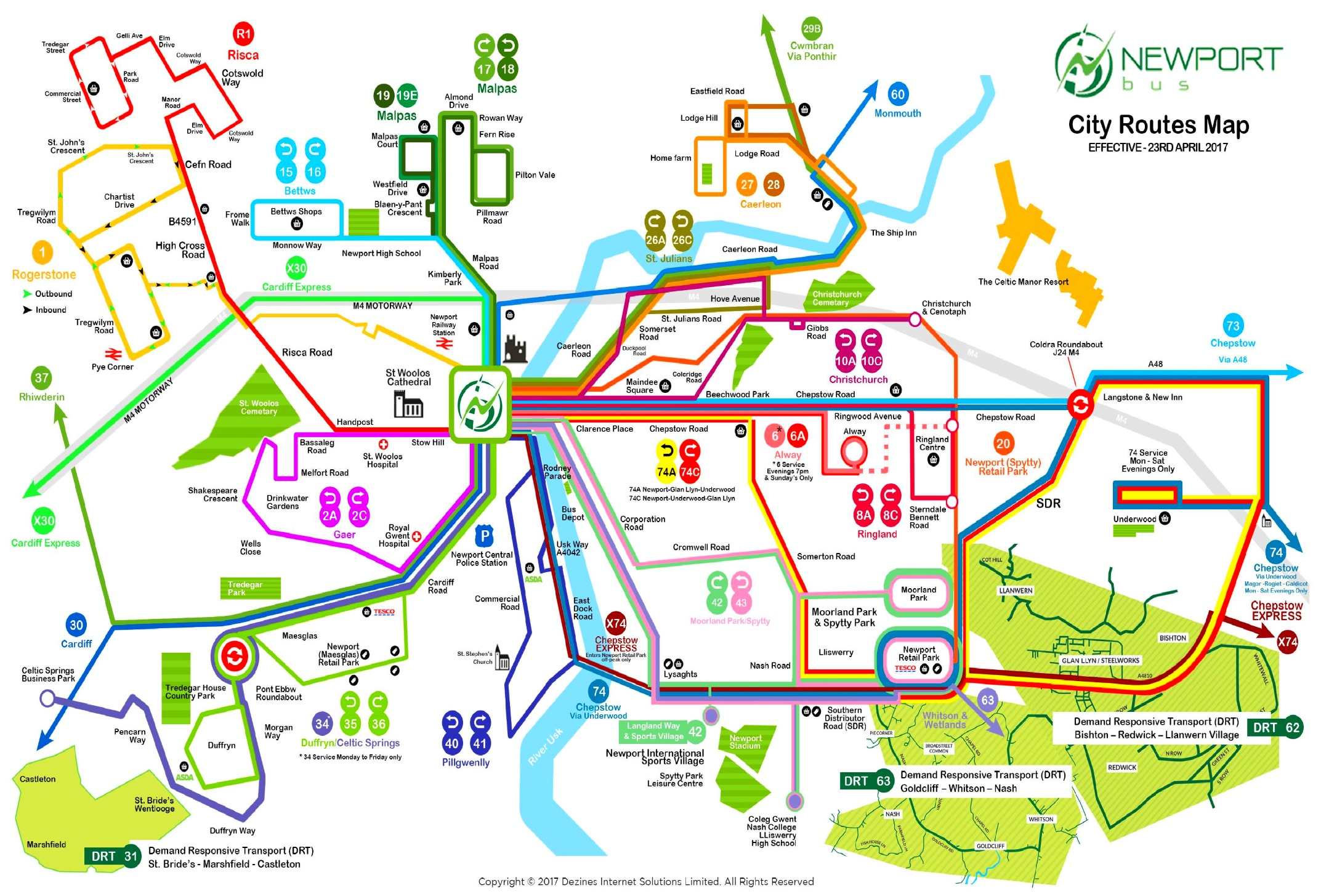 Newport bus map