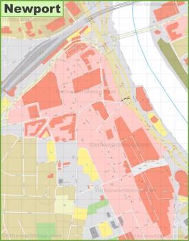 Newport city center map