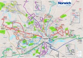 Norwich bus map