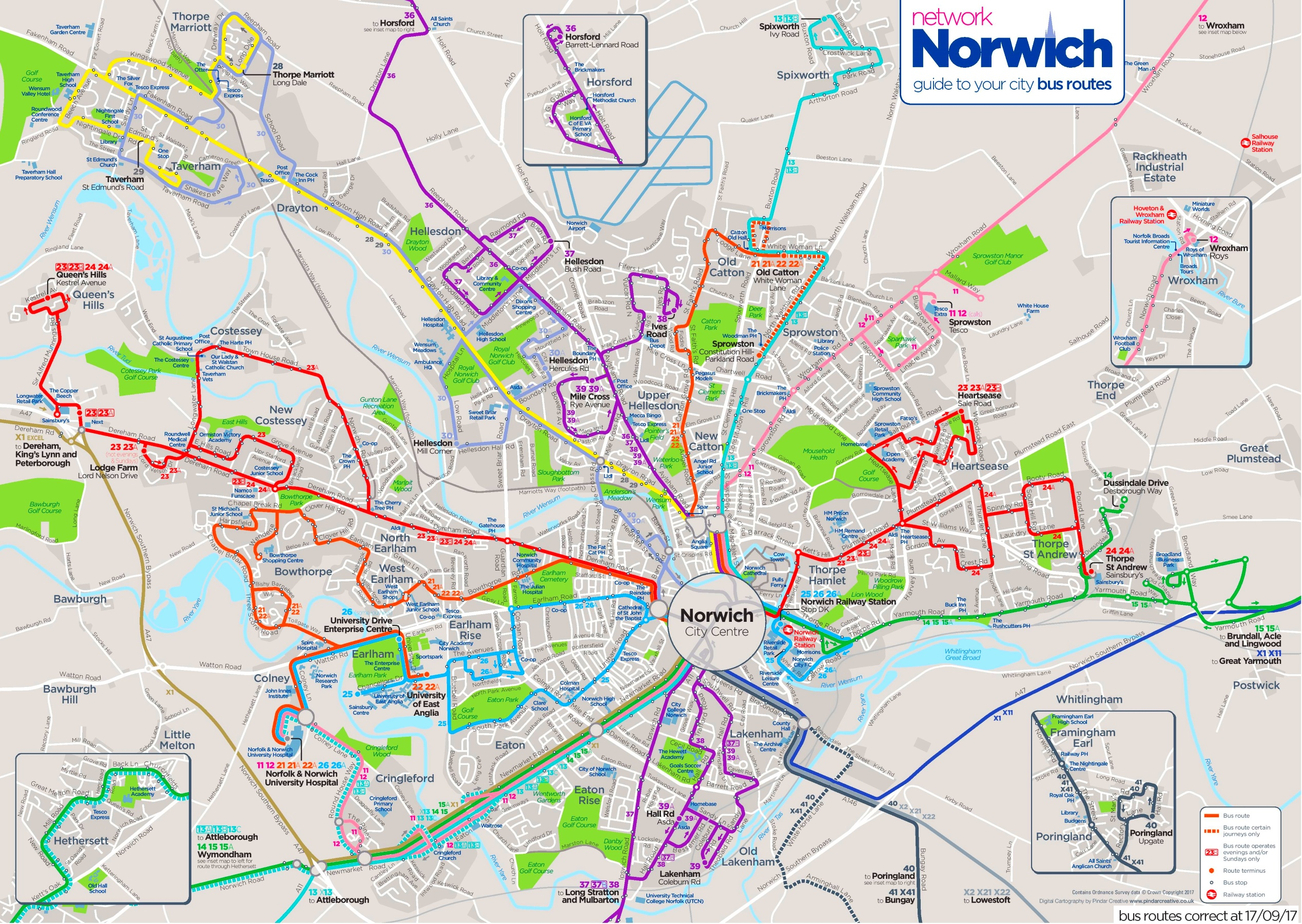 Norwich Bus Routes Map Norwich bus map