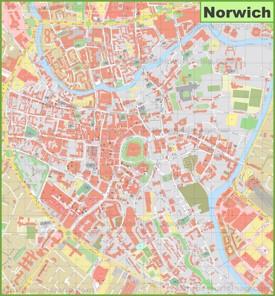 Norwich city center map