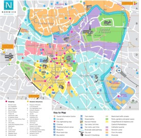 Norwich tourist attractions map