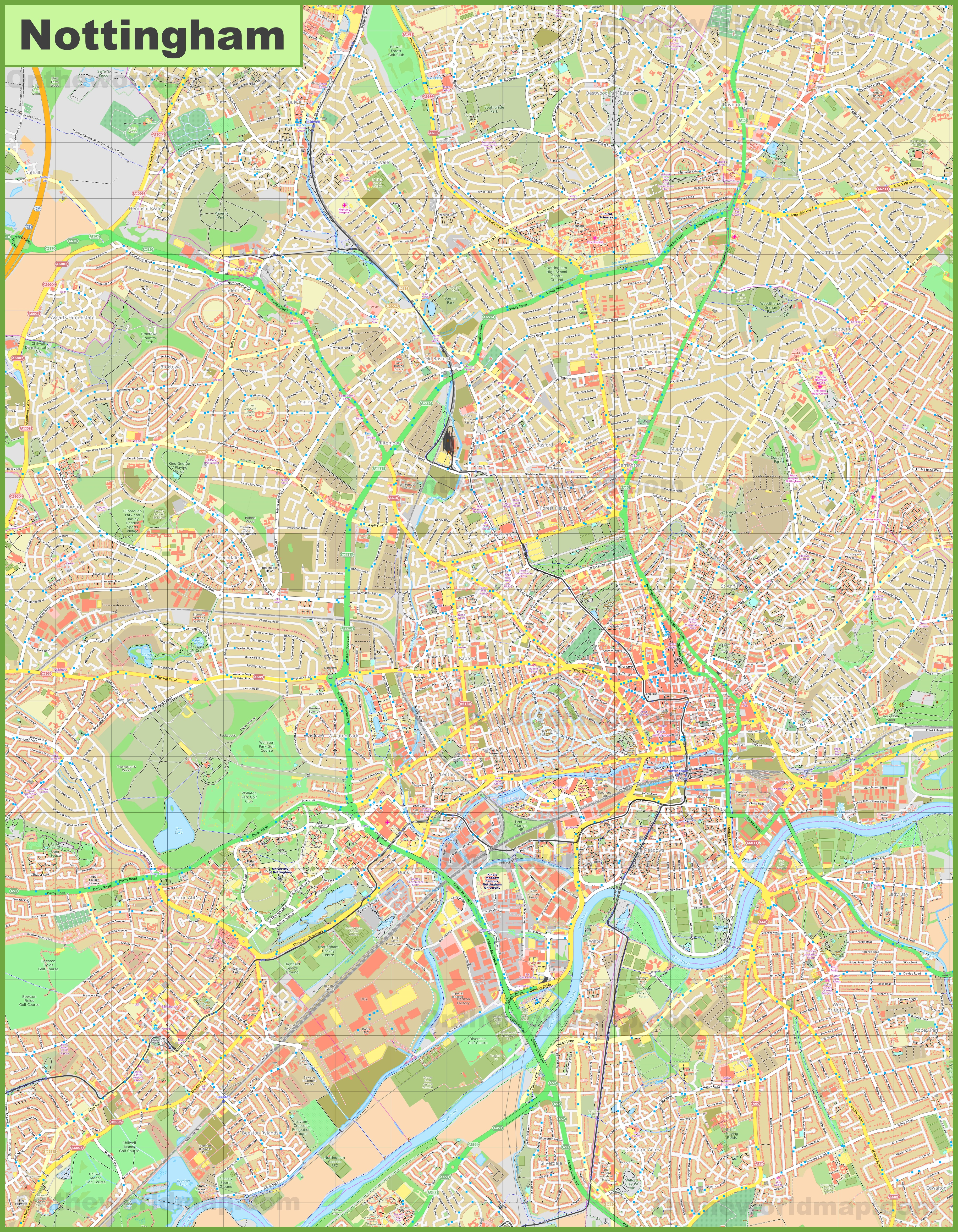 Detailed map of Nottingham