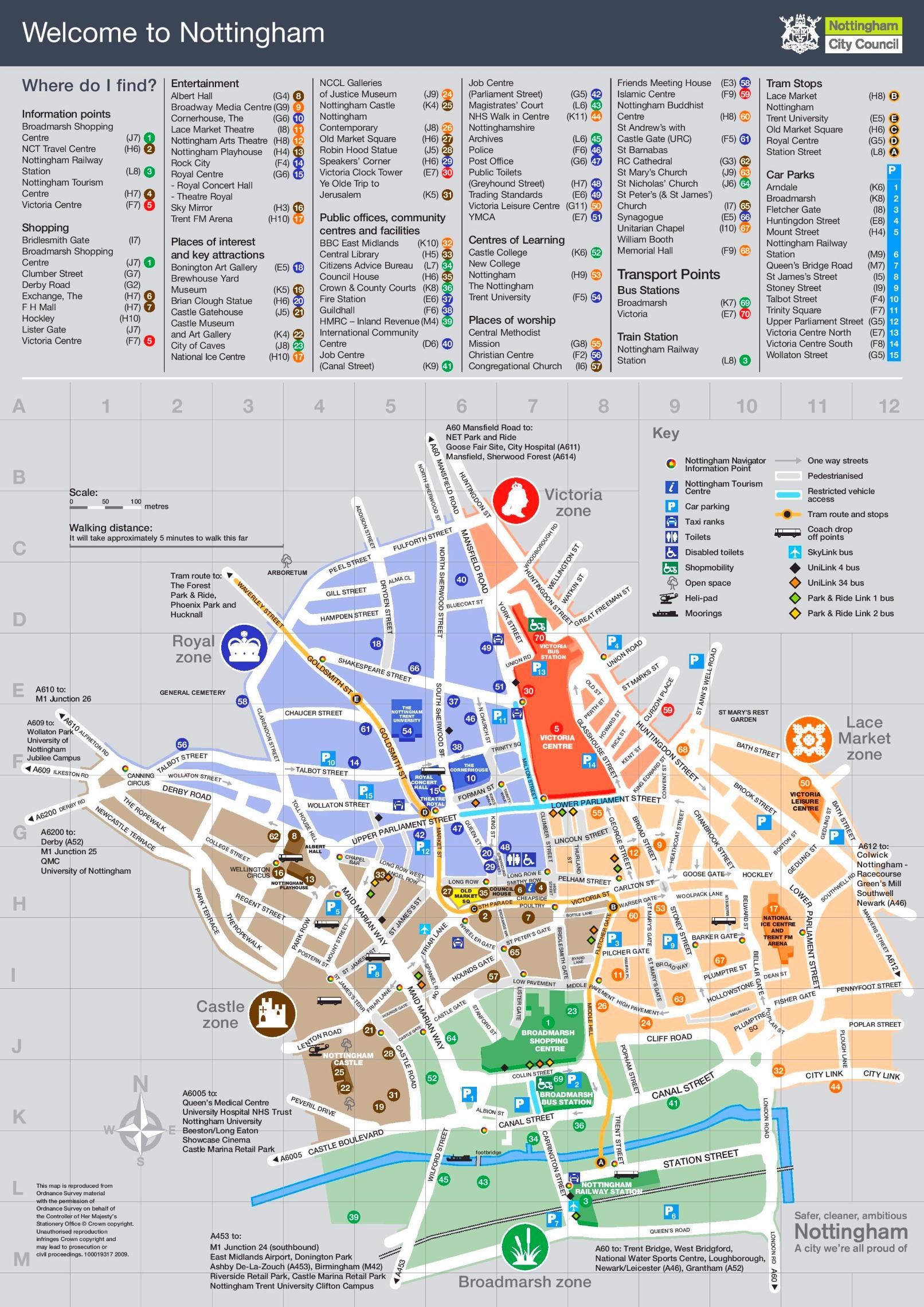 Map Of Uk Nottingham.Nottingham Sightseeing Map