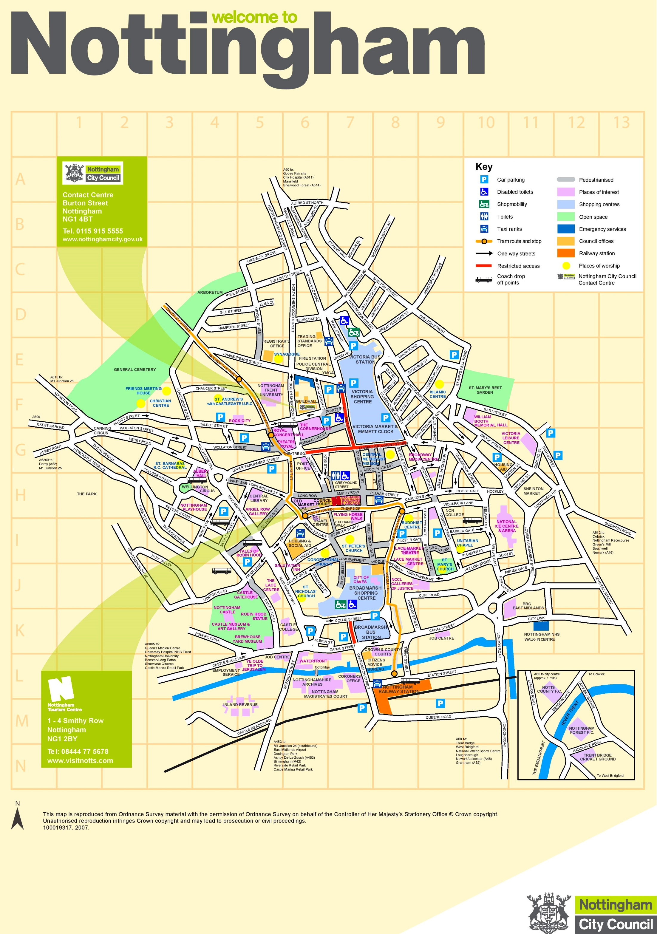 Nottingham City Hospital Map Nottingham tourist map Nottingham City Hospital Map