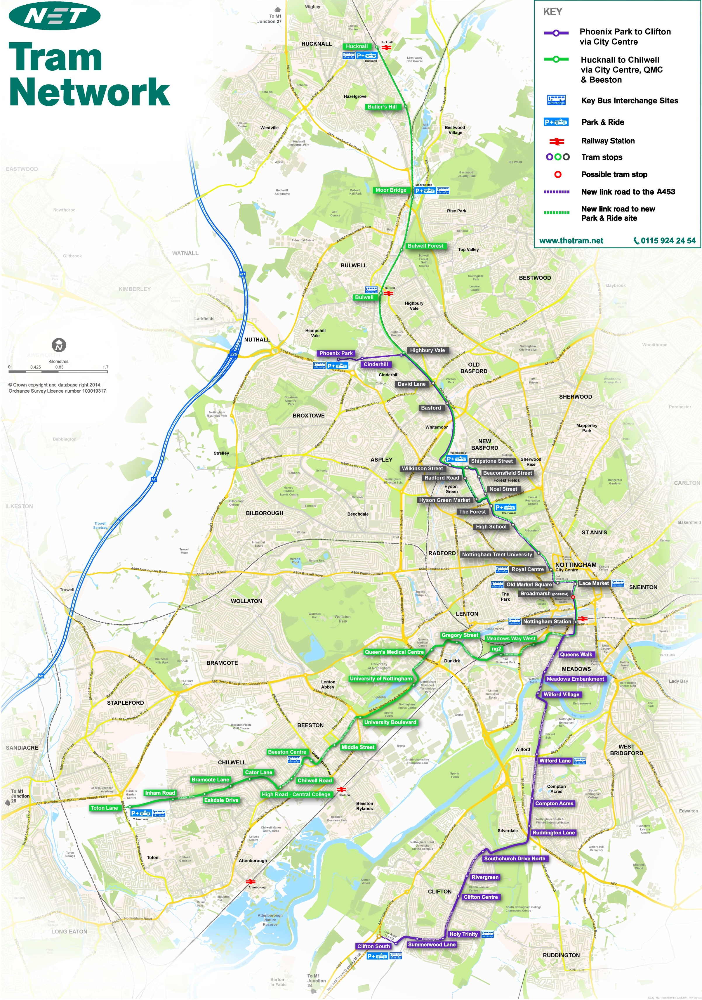 Nottingham tram map