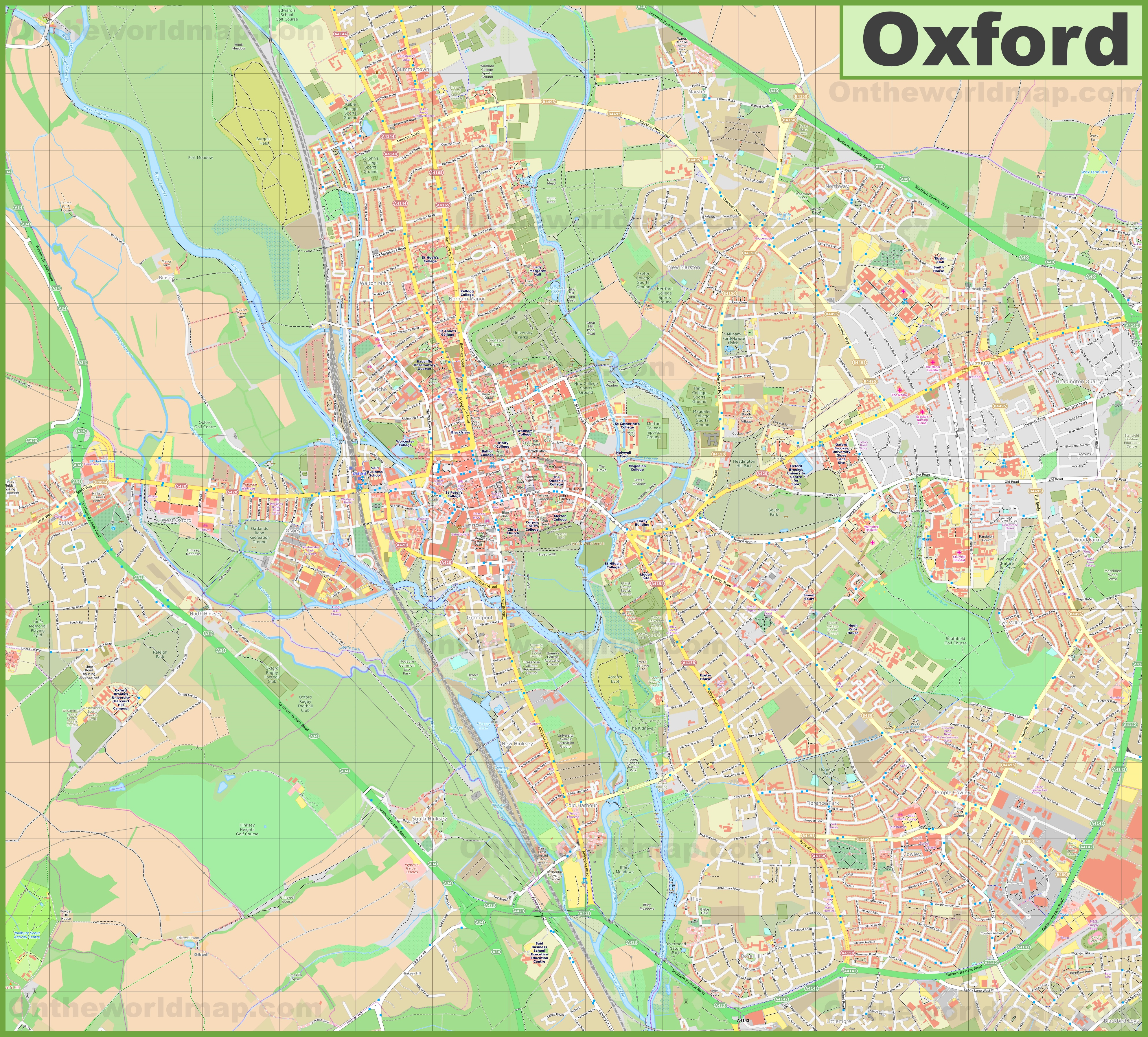 Map Of Uk Oxford.Detailed Map Of Oxford
