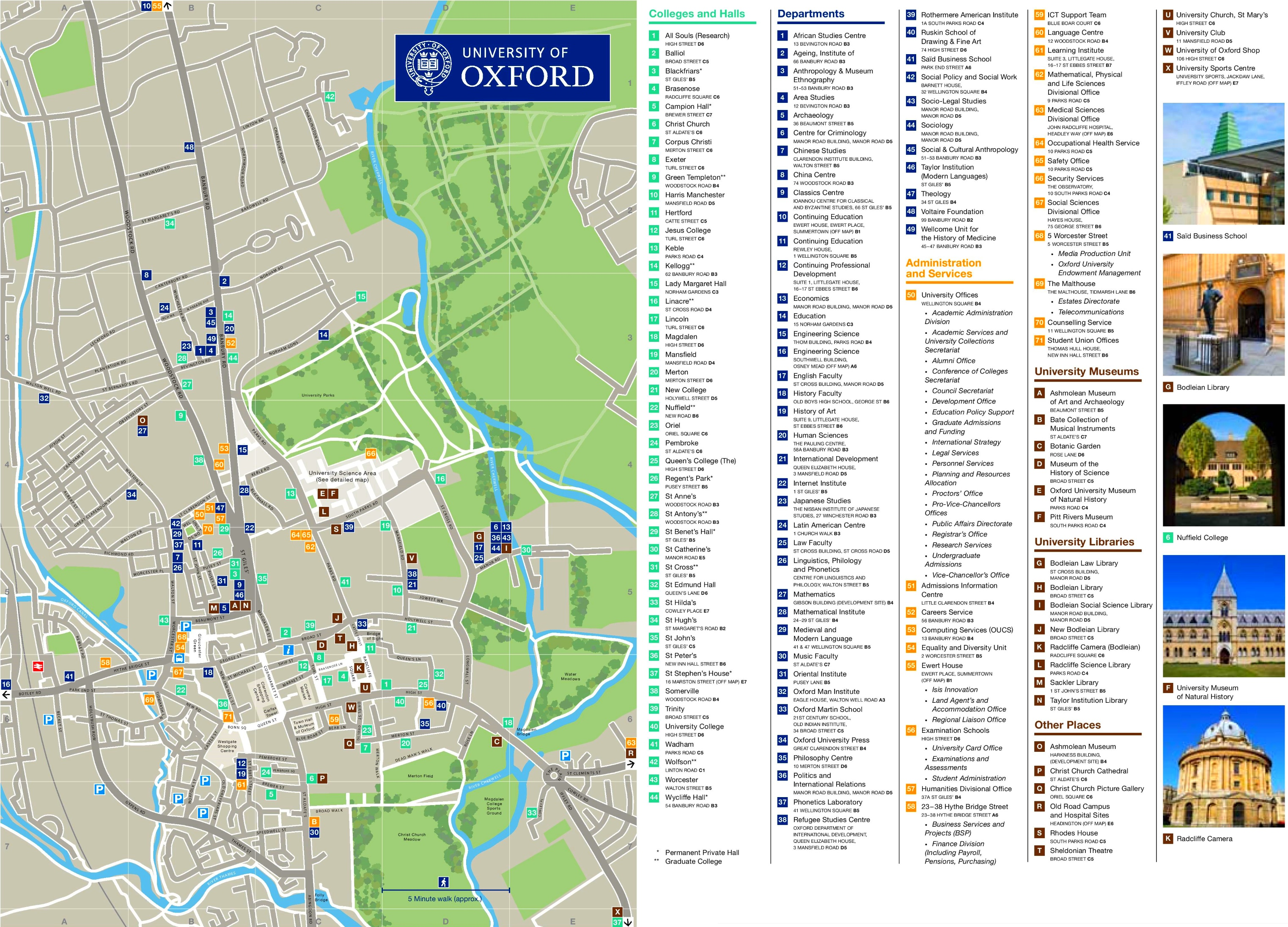 Oxford Colleges Map Oxford colleges map
