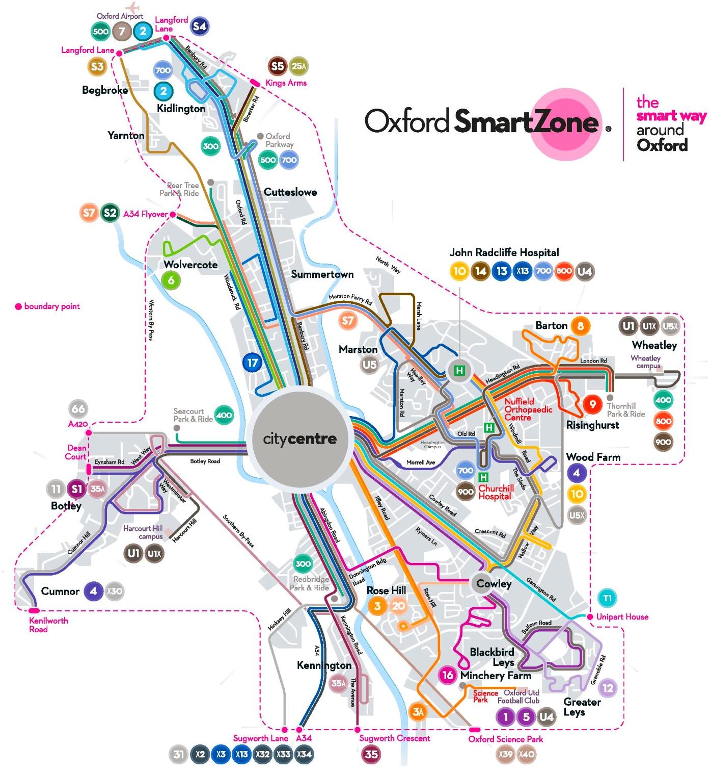 Oxford transport map