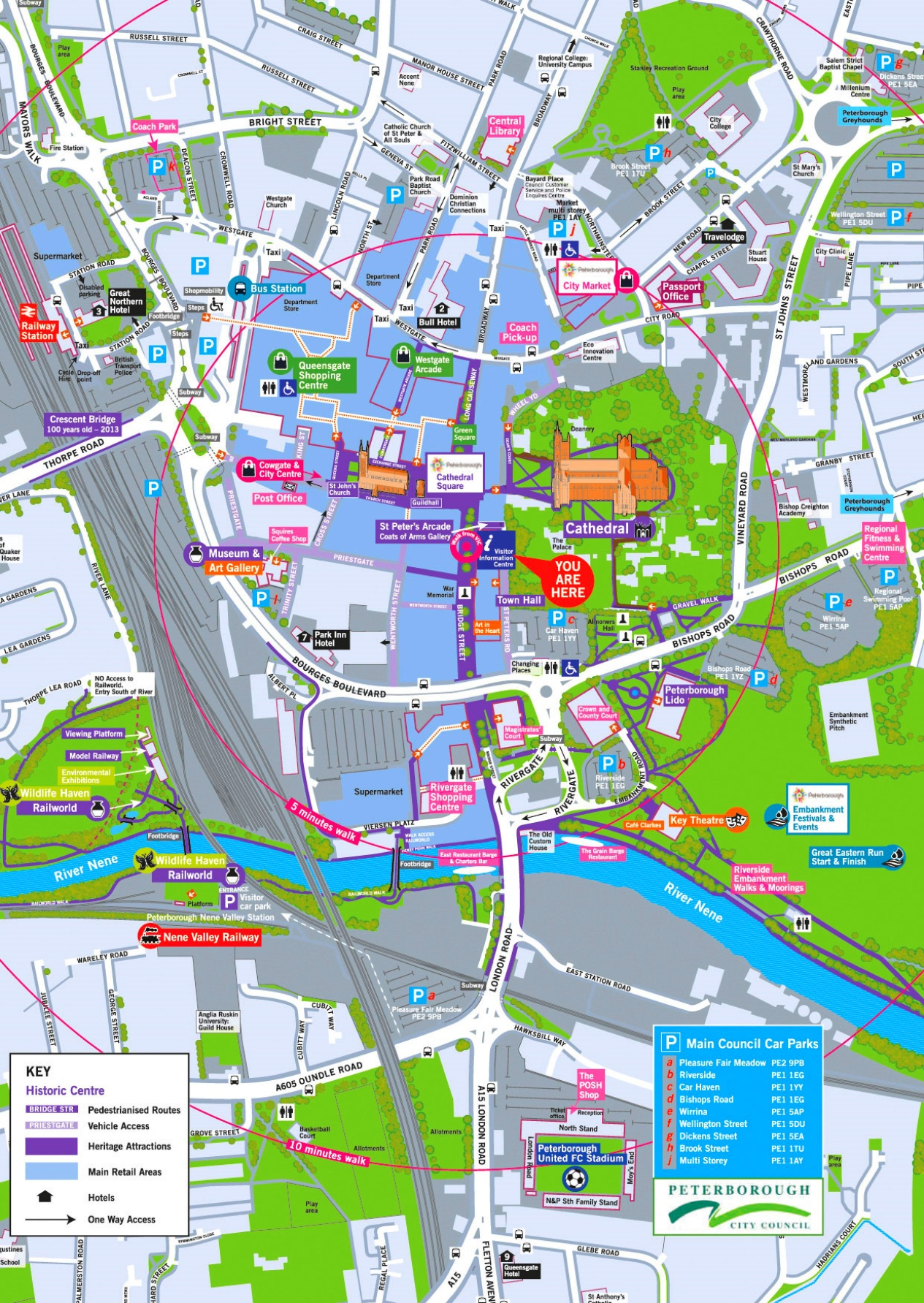 London City Centre Map.Peterborough Tourist Map