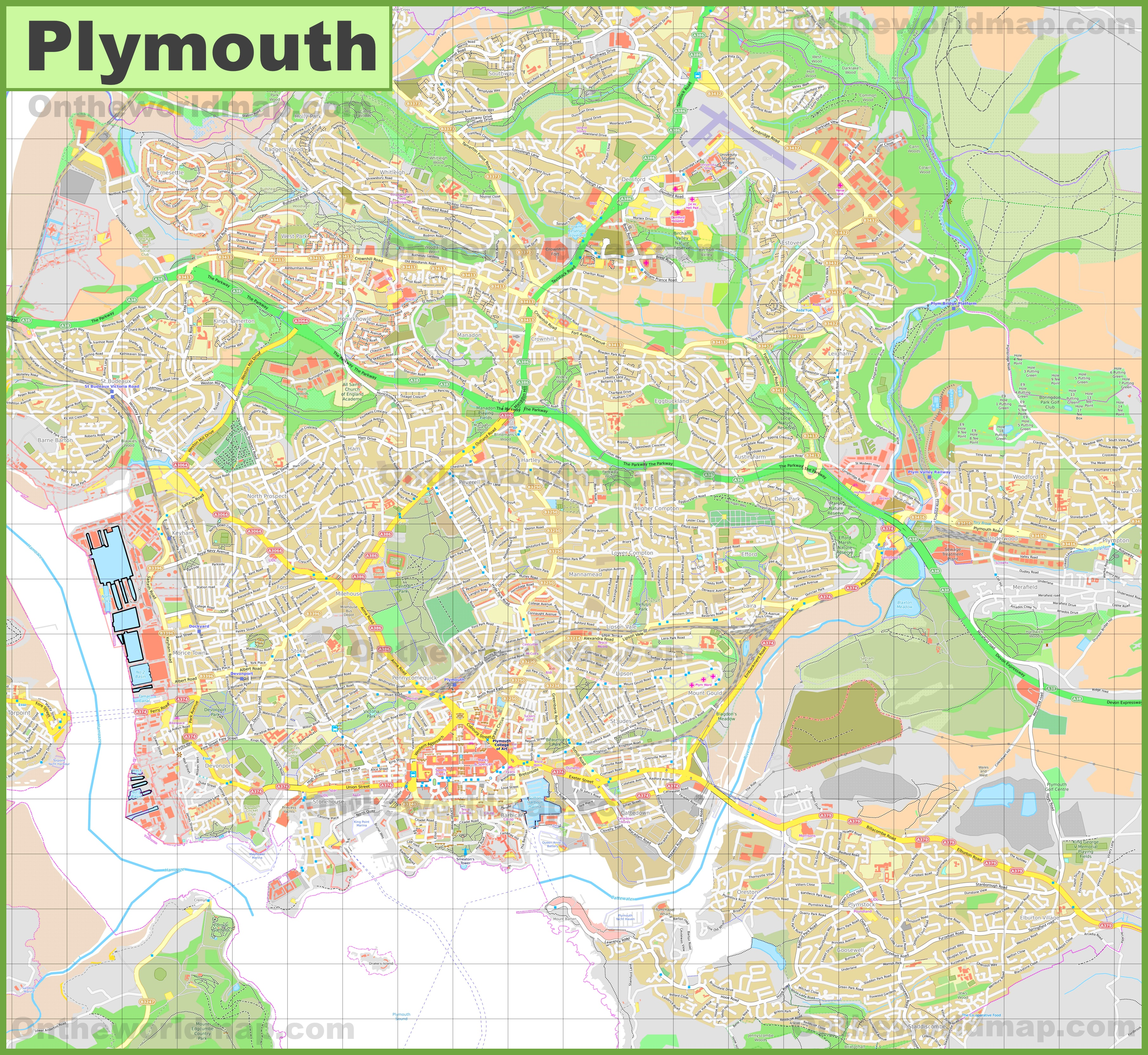 detailed map of plymouth