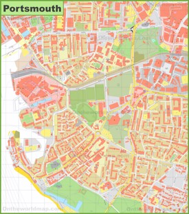 Portsmouth city center map