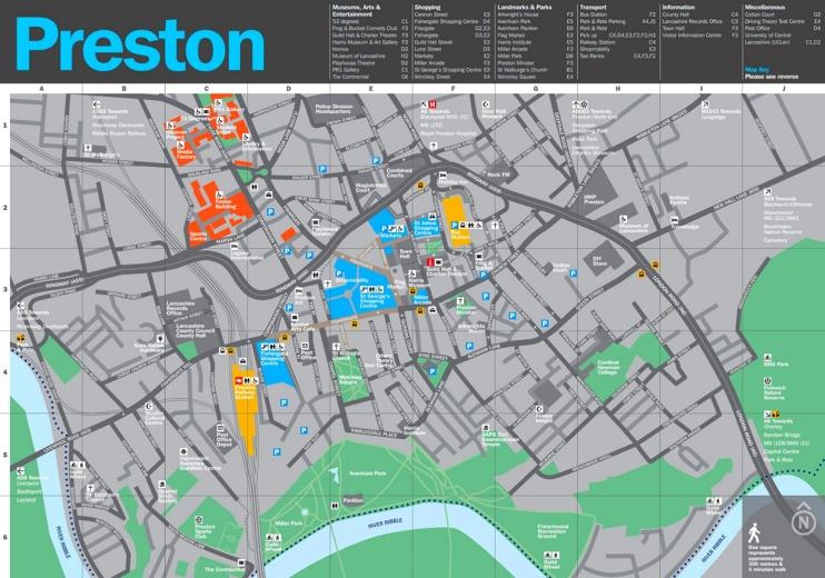 Preston tourist map