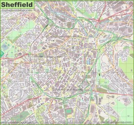 Large detailed map of Sheffield