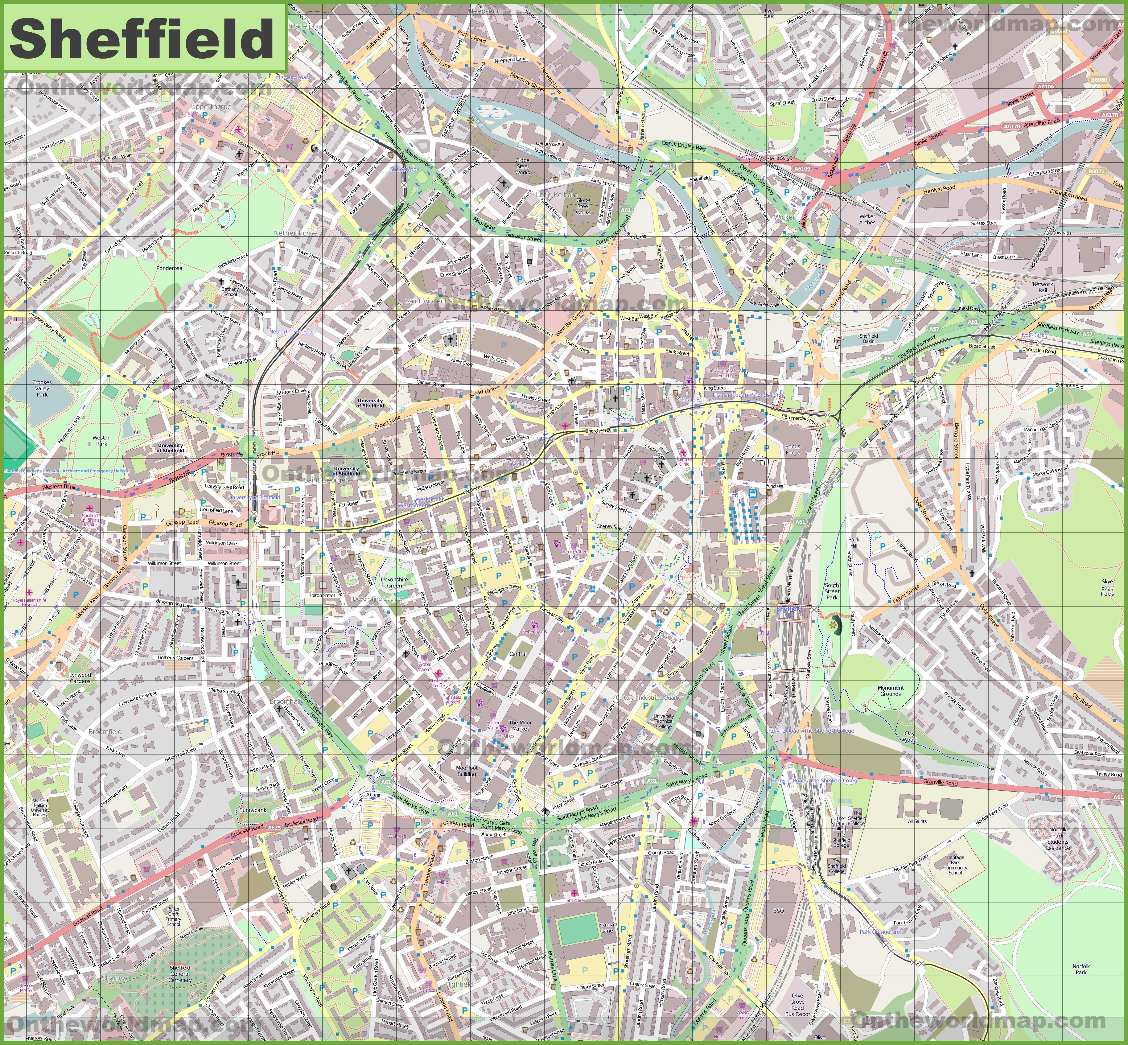 Map Of Sheffield Large detailed map of Sheffield Map Of Sheffield