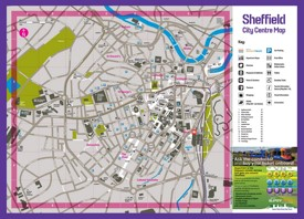 Sheffield hotels and sightseeings map