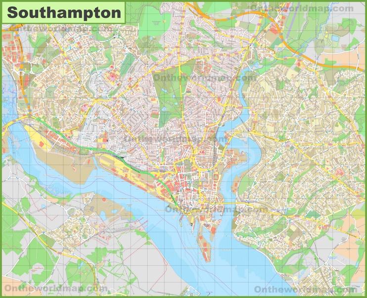 Detailed map of Southampton