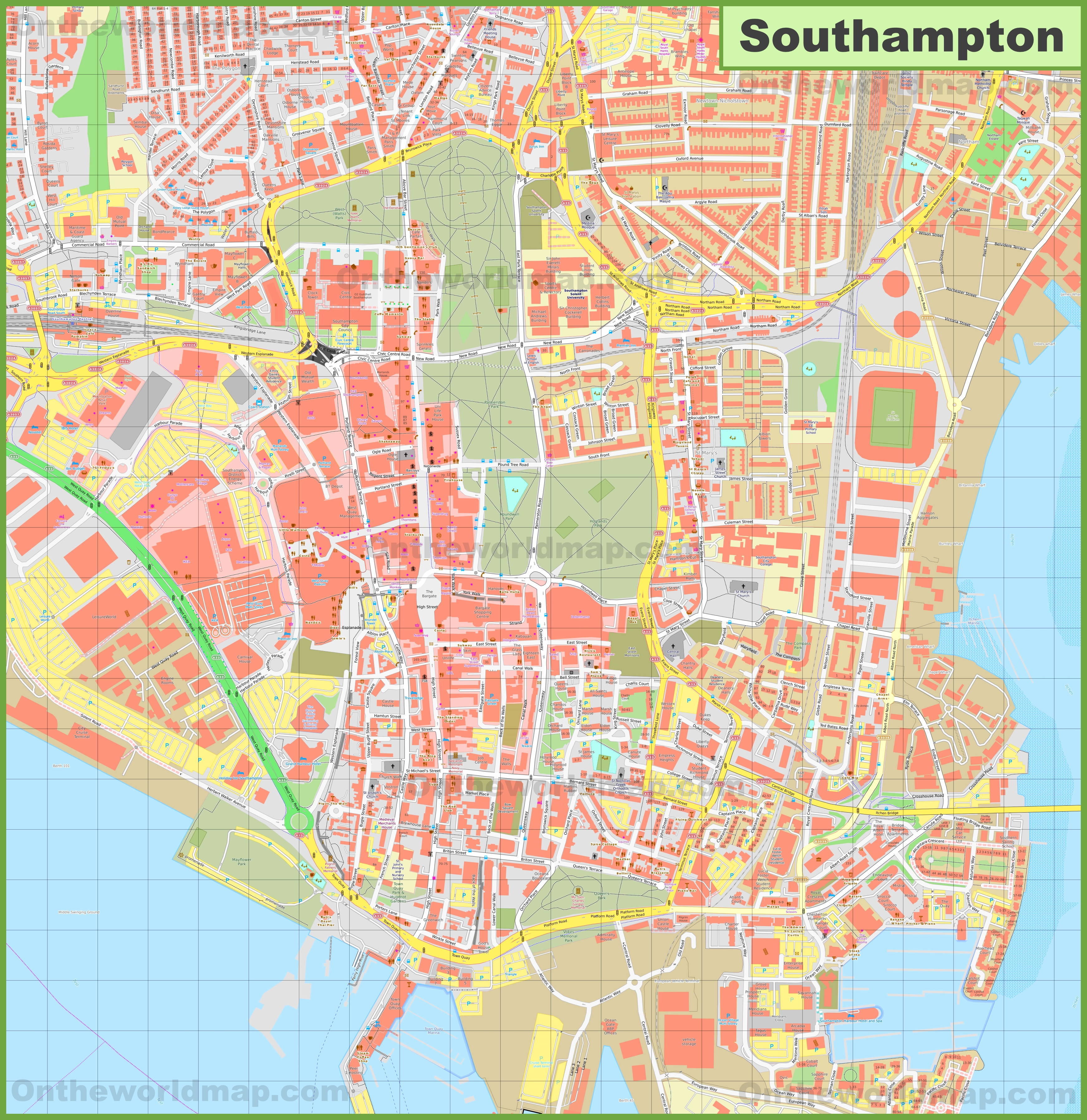 Map Of Southampton Southampton city center map Map Of Southampton