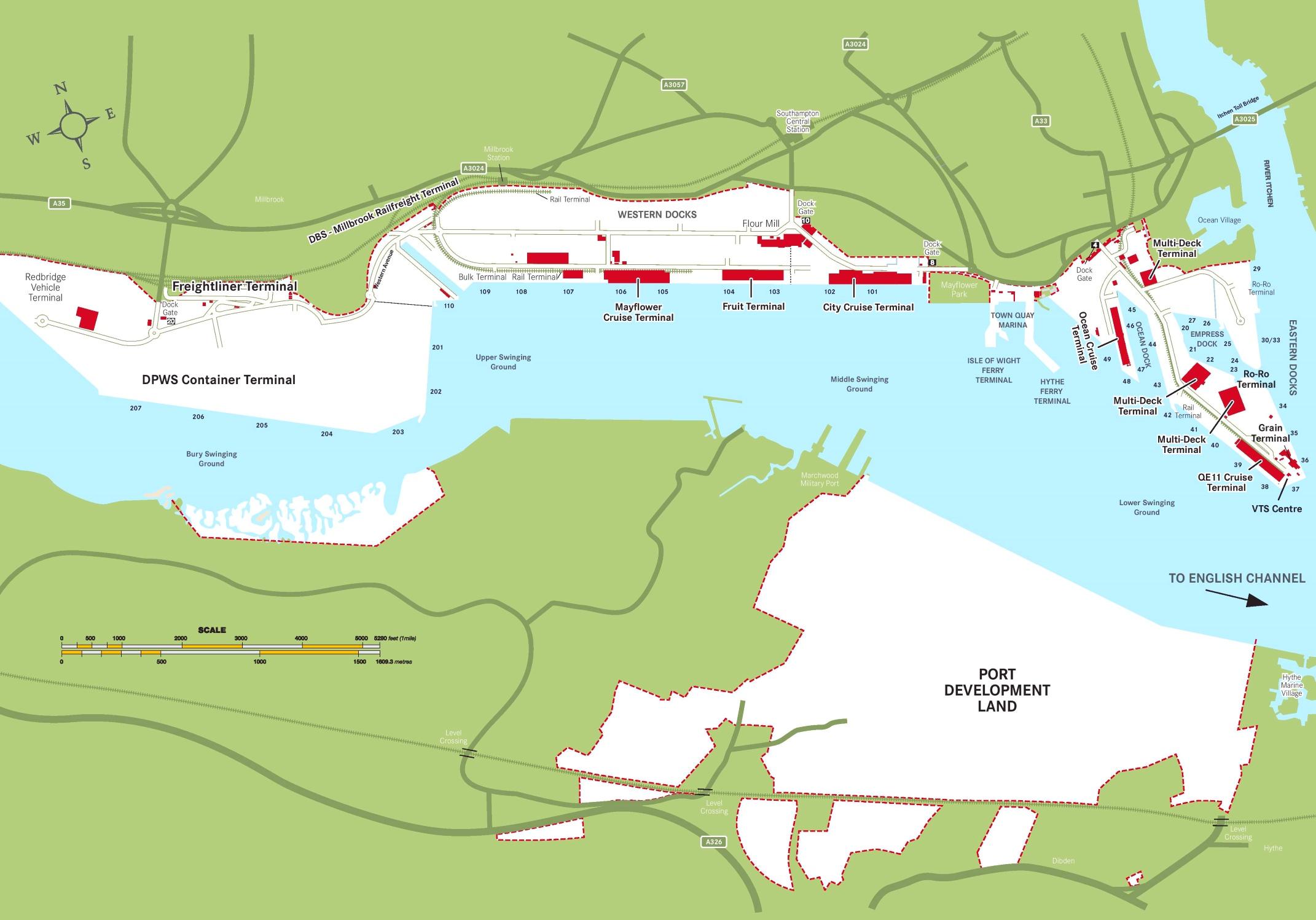 Southampton Port map