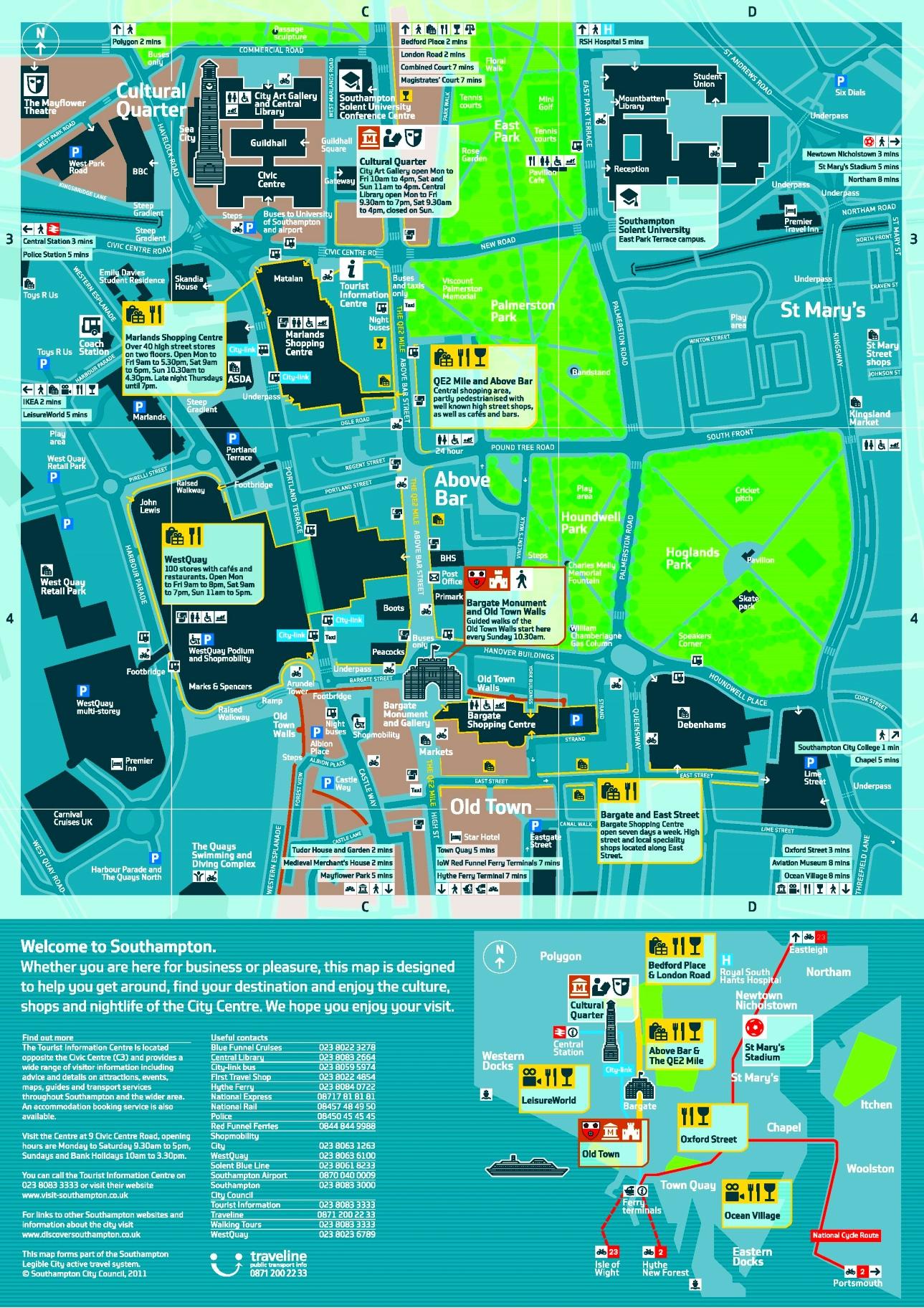 Southampton sightseeing map
