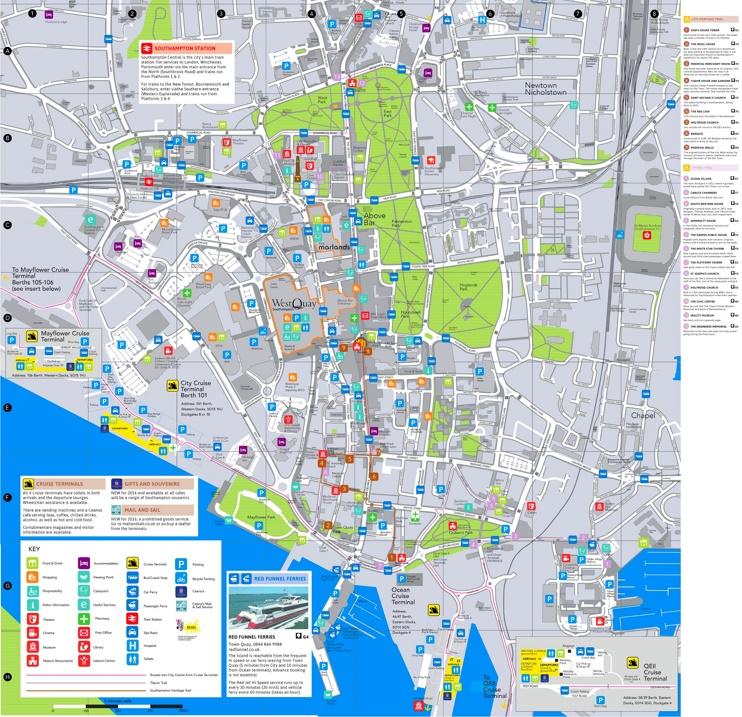 Southampton tourist map