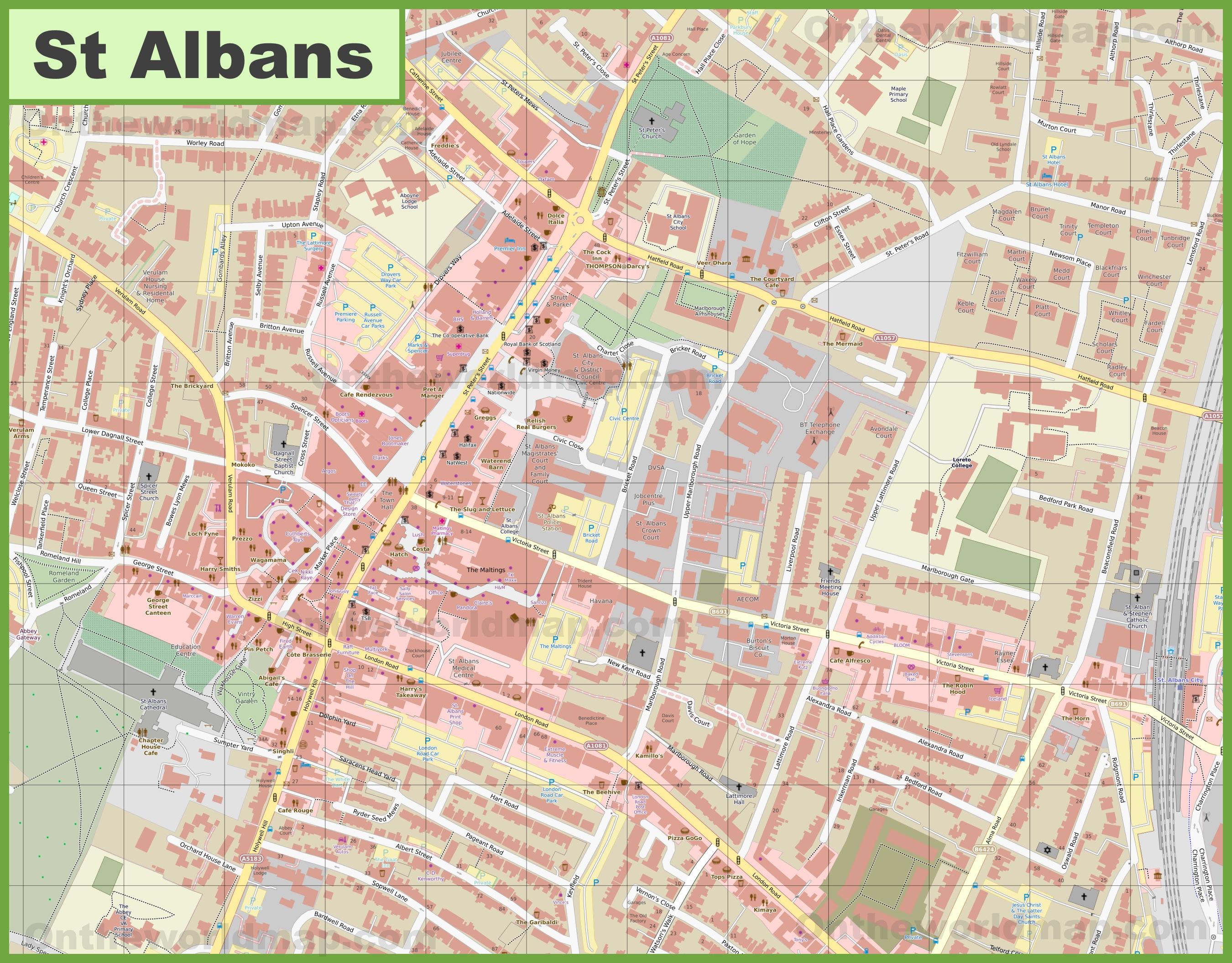 St Albans city center map