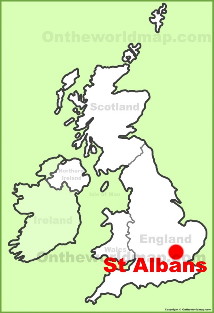 St Albans location on the UK Map