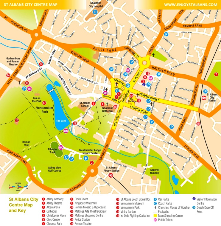 Map Of St Albans St Albans tourist map