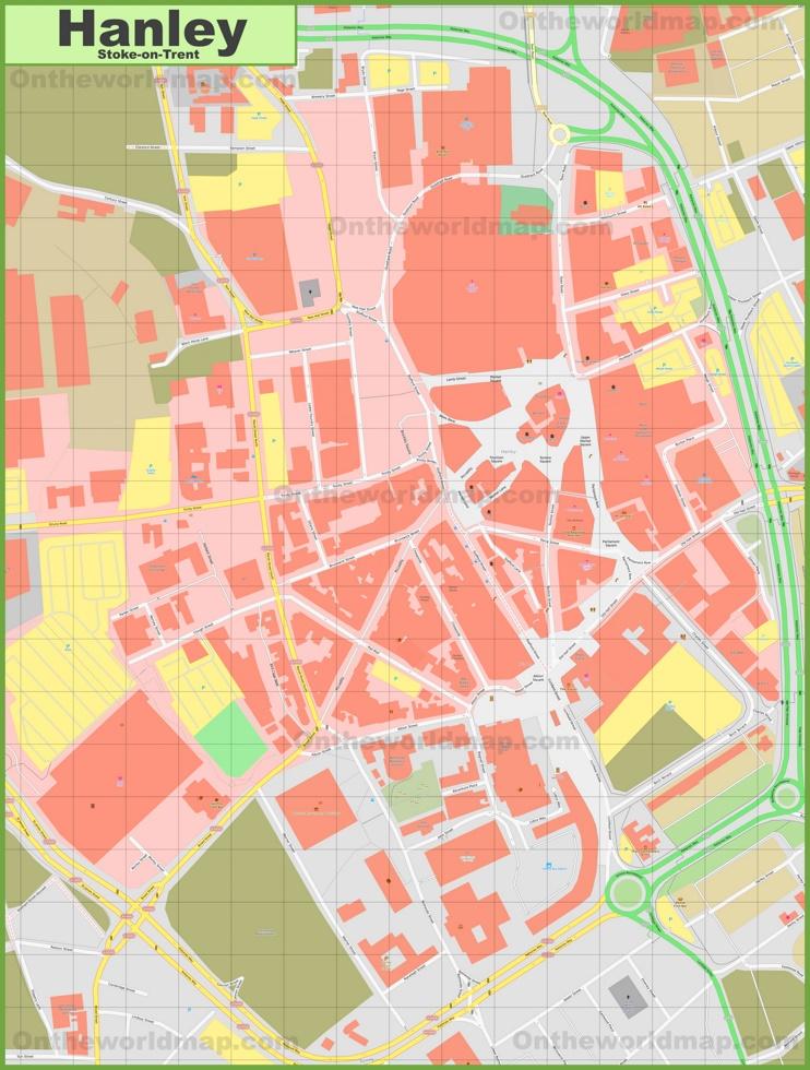 Stoke-on-Trent city center map