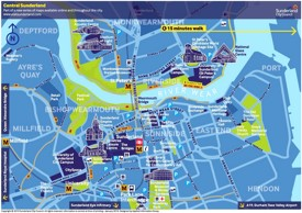 Central Sunderland travel map