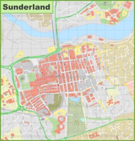 Sunderland city center map