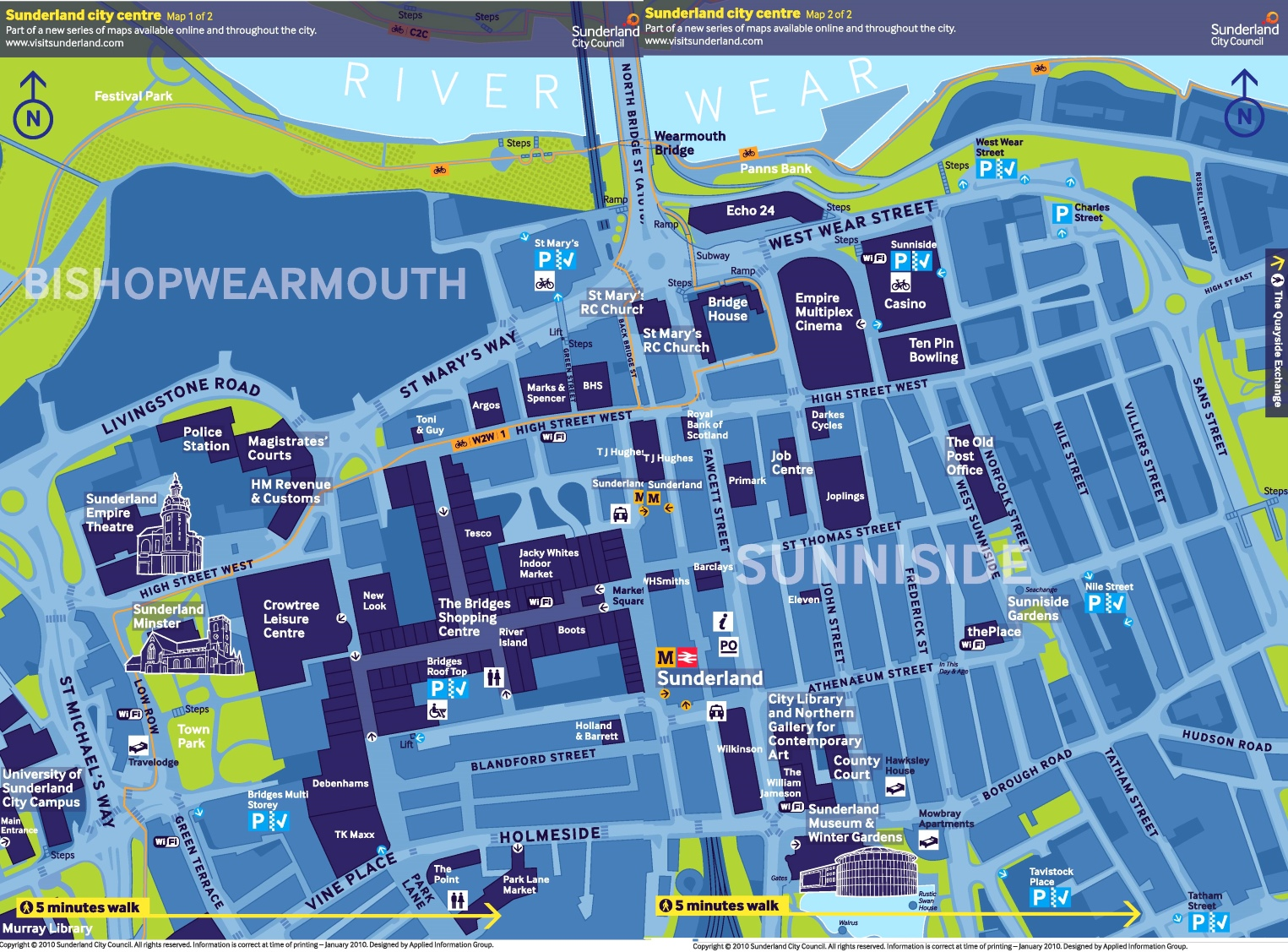 Sunderland city centre tourist map