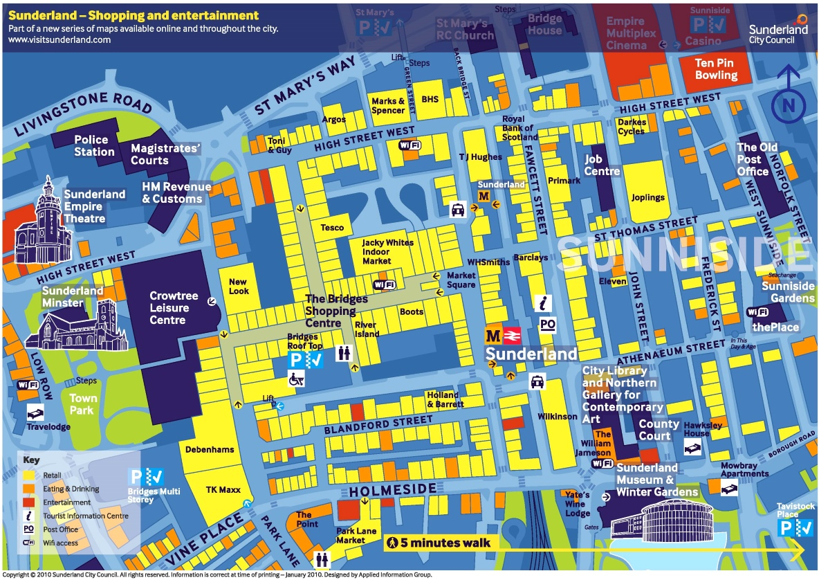Sunderland shopping and entertainment map
