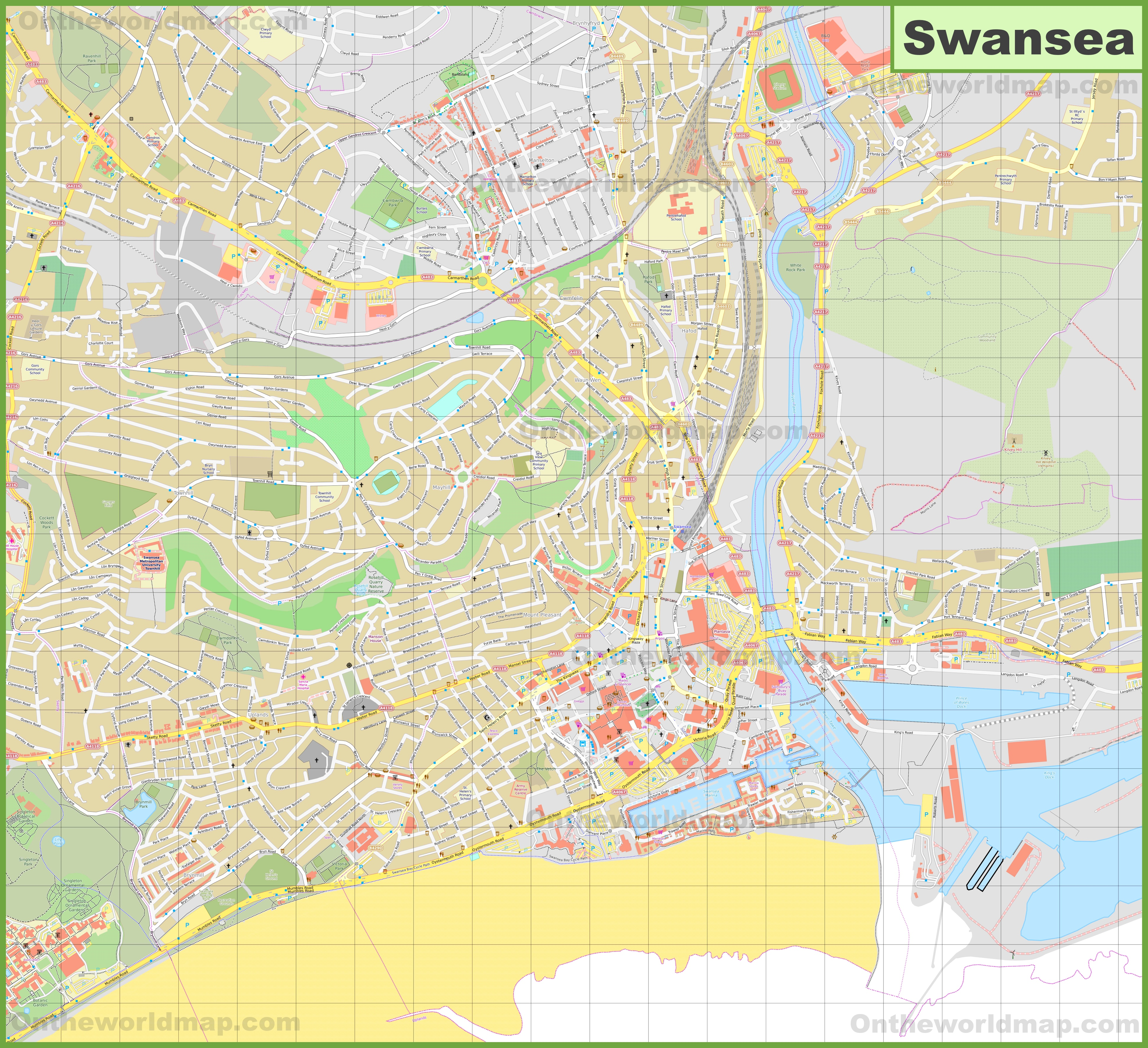 Detailed map of Swansea