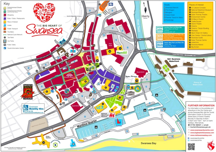 Swansea hotels and sightseeings map