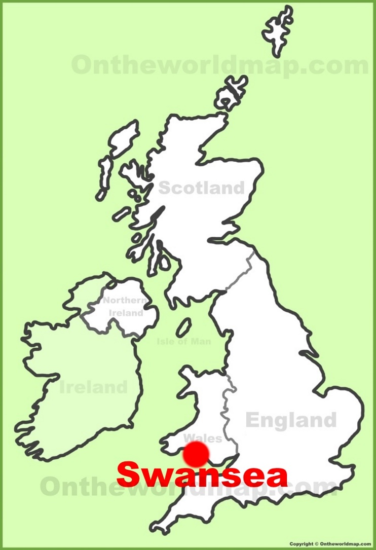 Swansea location on the UK Map