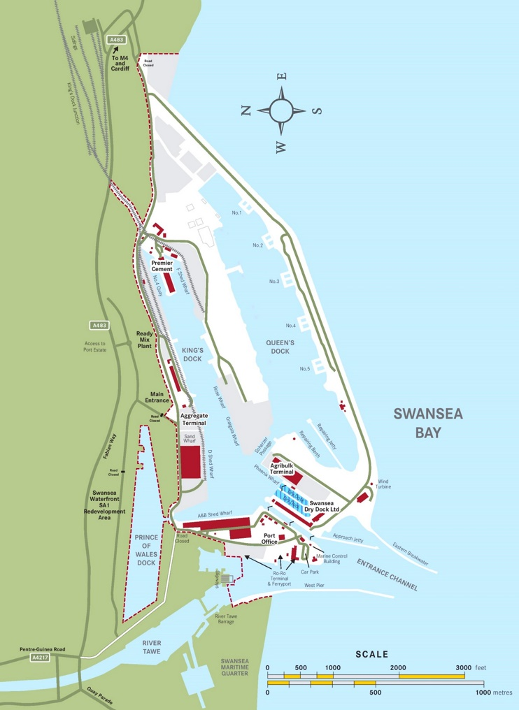 Swansea Port map