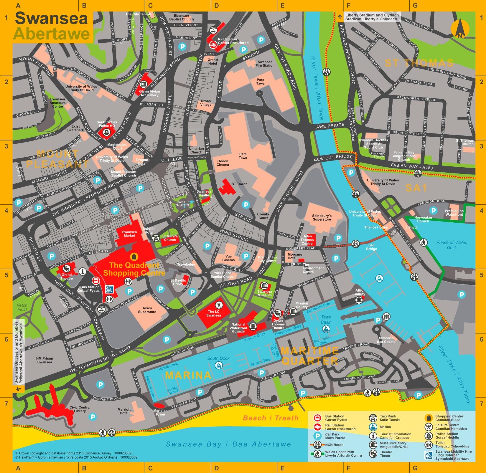 Swansea tourist map
