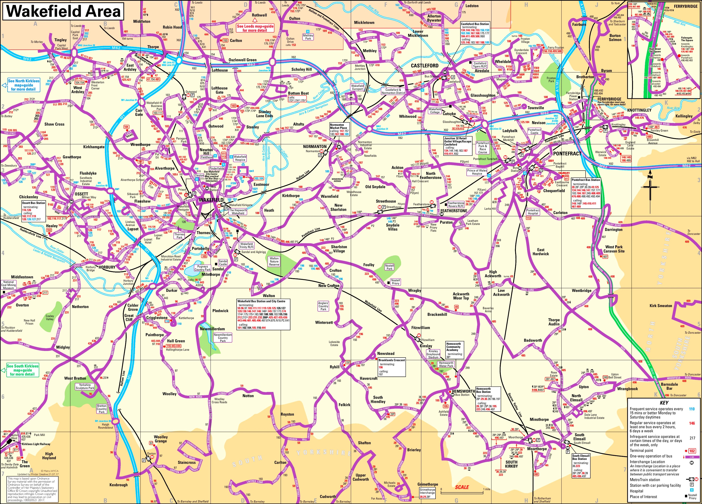 Wakefield area bus map