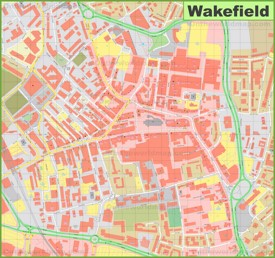 Wakefield city center map