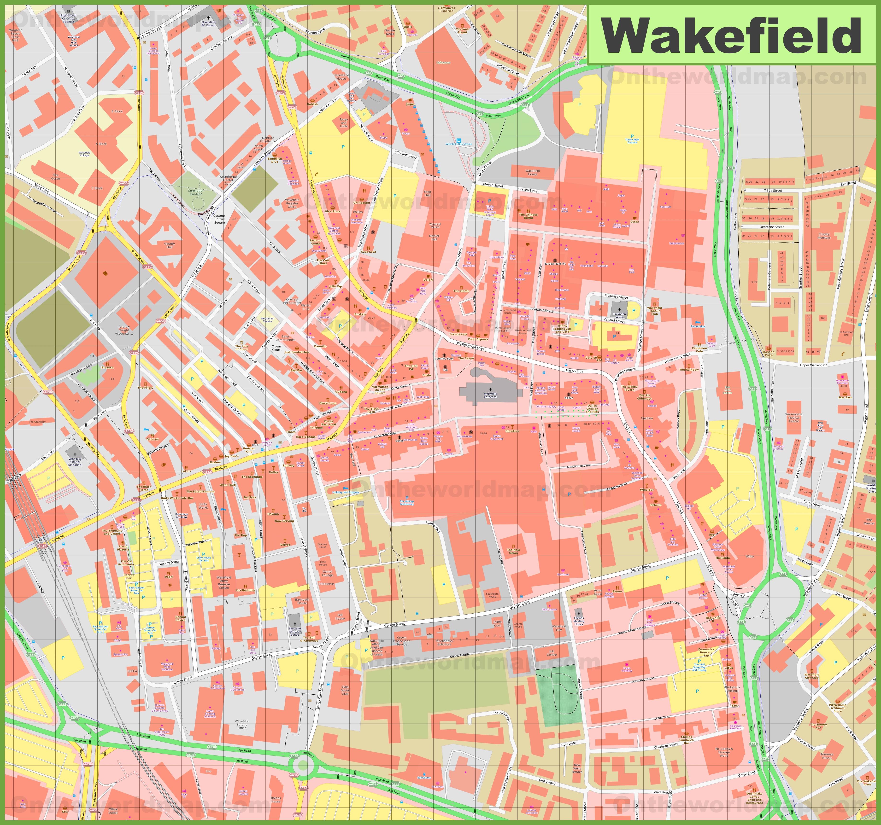 Wakefield Maps UK Maps of Wakefield