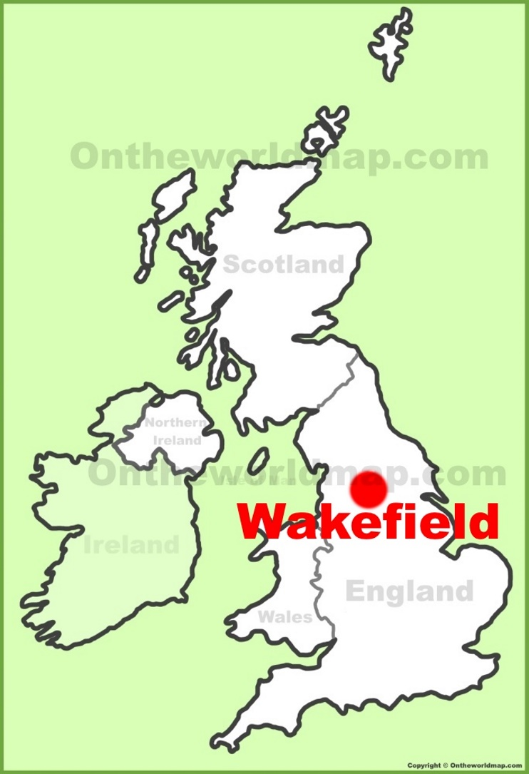 Wakefield location on the UK Map