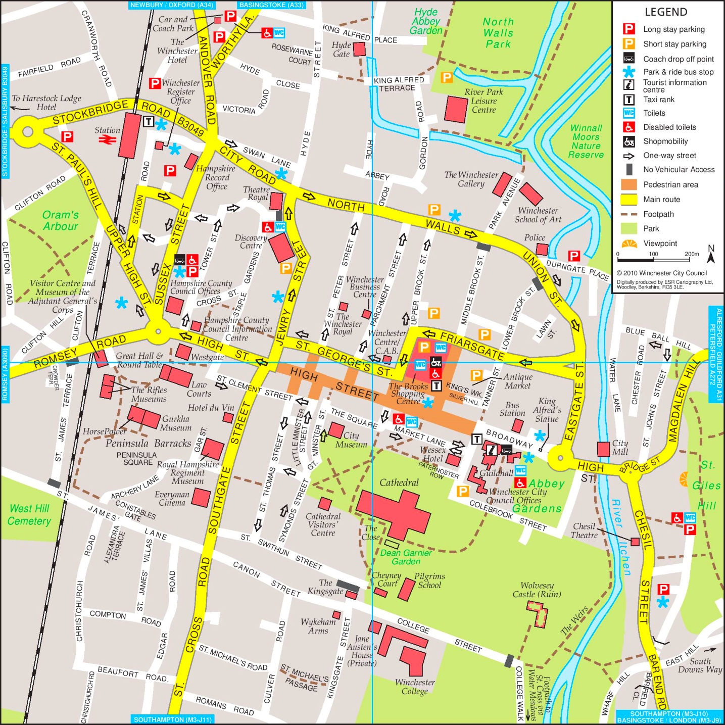 Winchester tourist map