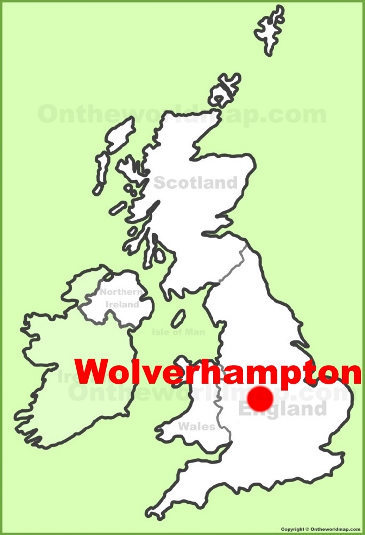 Wolverhampton location on the UK Map