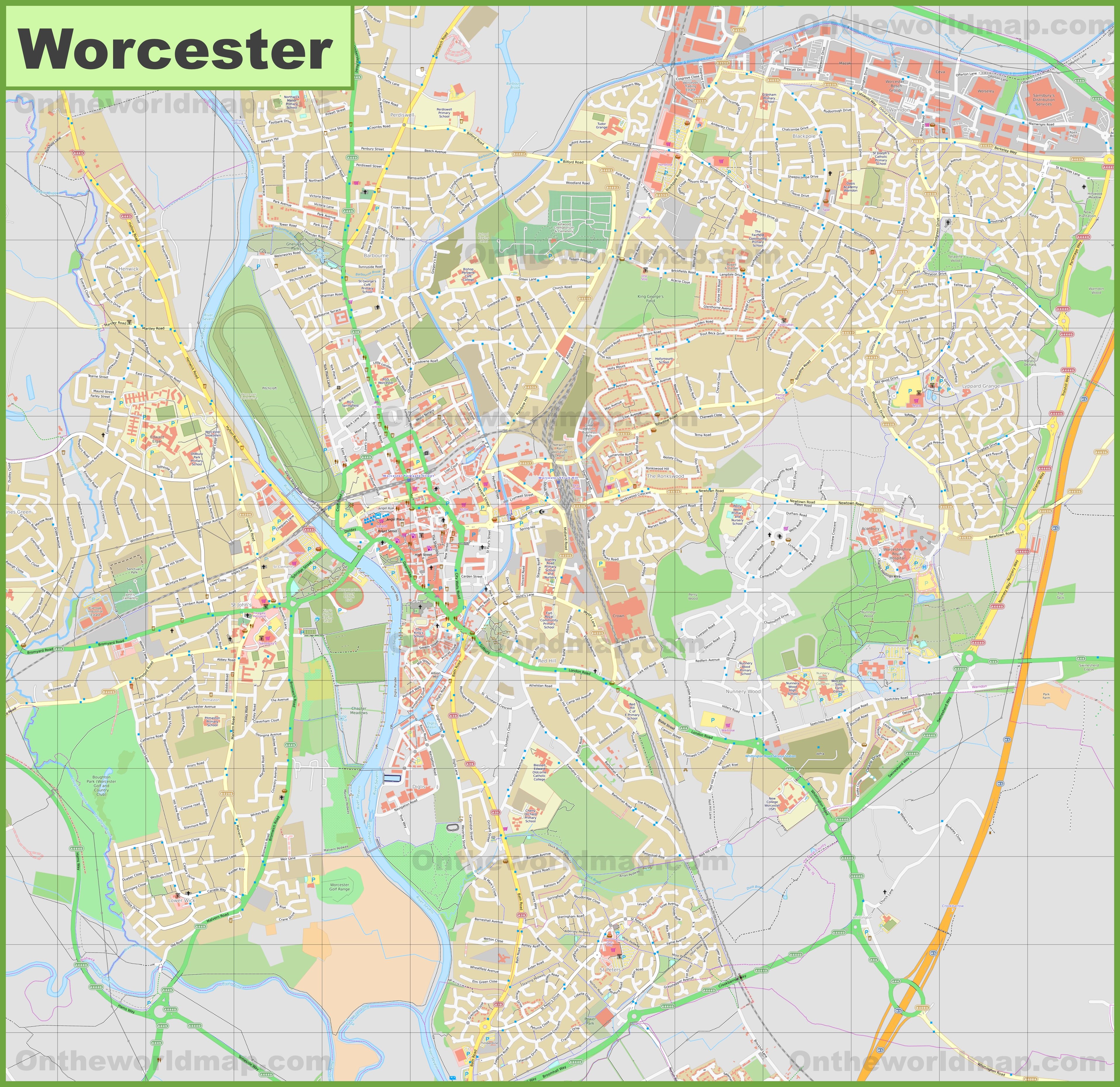 Detailed map of Worcester