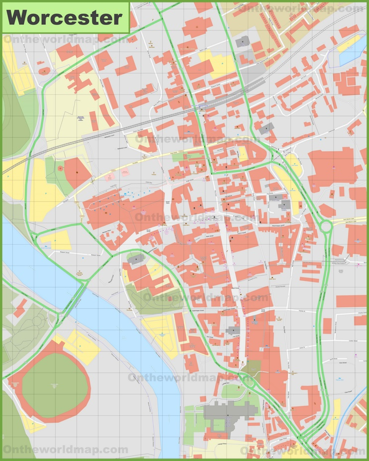 Worcester city center map