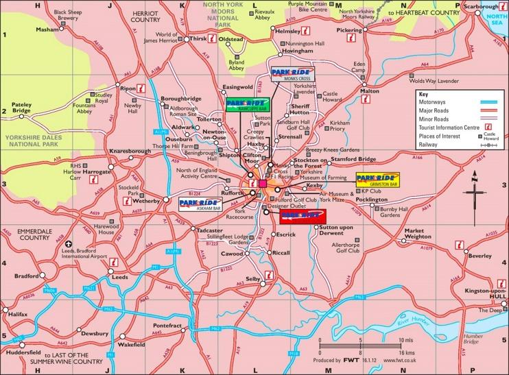Map of surroundings of York