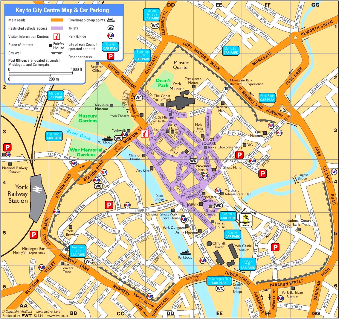 Map Of York York tourist map Map Of York
