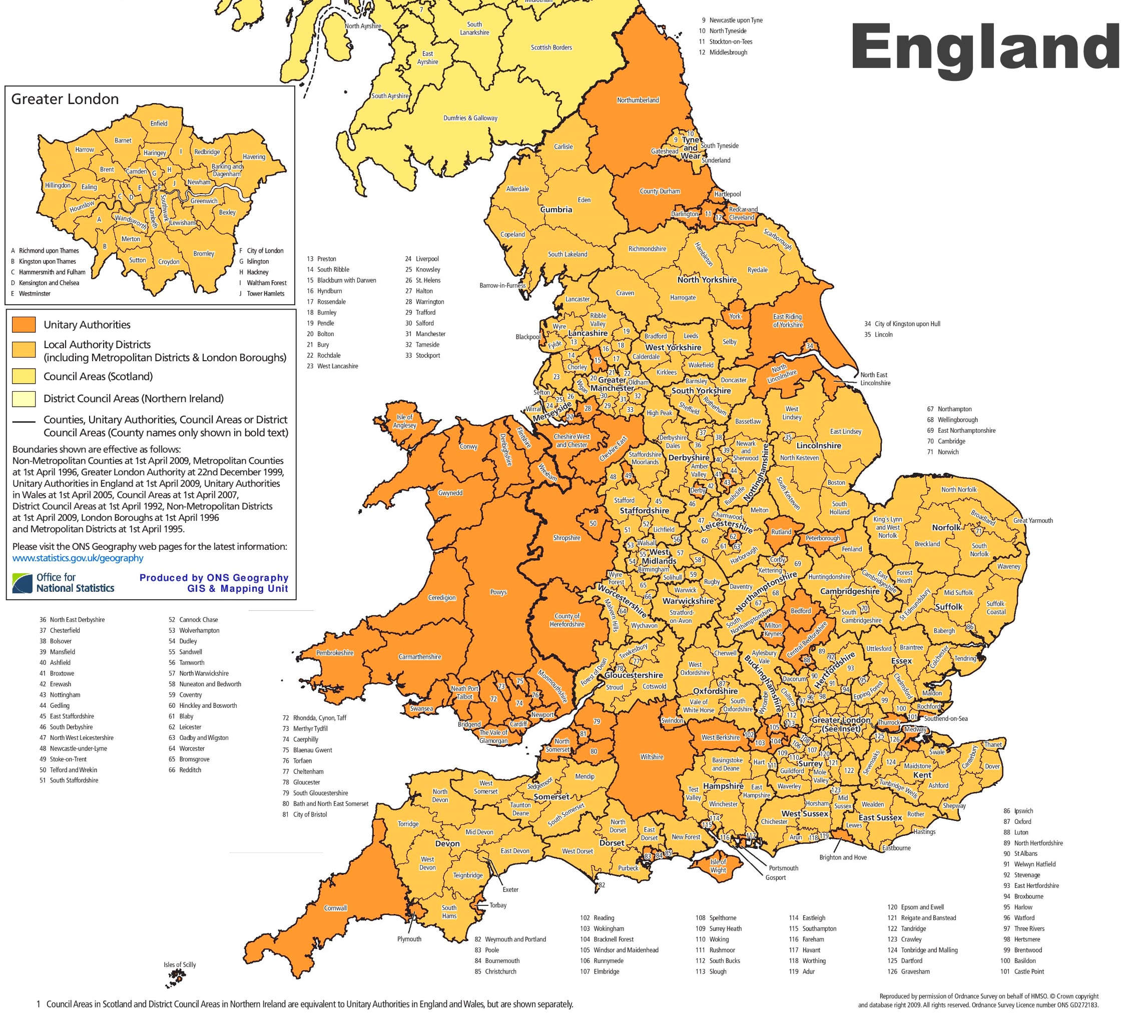 Administrative divisions map of England